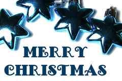 Christmas background with glass ornament in star shape with text Royalty Free Stock Photography
