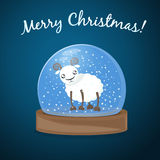 Christmas background. Glass snow globe with cartoon sheep, New Year greetings background Royalty Free Stock Photo