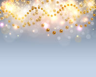 Christmas background glittering lights Stock Photo