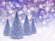 Christmas background with glittering lights. And christmas trees, winter vector illustration Royalty Free Stock Photography