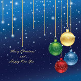 Christmas background with glossy balls Royalty Free Stock Photos