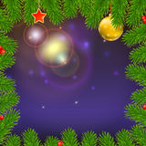 Christmas background with of glowing rays, fir branches, red berries, New Year balls and star. Christmas background with of glowing rays, fir branches, red Royalty Free Stock Photography