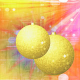 Christmas background with gold balls, stars and glass texture Stock Photo