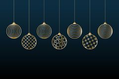 Christmas background Gold balls toy on a blue background Festive background for Christmas and New Year Pattern of gold line toy royalty free illustration