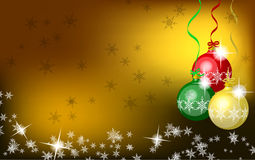 Christmas background. Gold Christmas background with baubles Stock Photo