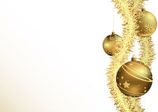 Christmas Background with Gold Baubles Stock Image