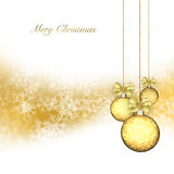 Christmas background with gold baubles Royalty Free Stock Photos