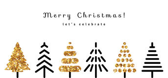 Christmas Background with Gold and Black Fir Trees Royalty Free Stock Photo