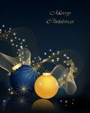 Christmas background. Christmas background gold and blue balls Stock Image