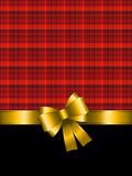 Christmas background with gold bow Stock Photos