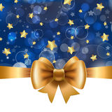 Christmas background with gold bow. Vector illustration for Christmas posters, icons, Christmas greeting cards, Christmas print and web projects Royalty Free Stock Photo
