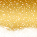 Christmas background. Gold color with snowflakes Stock Image