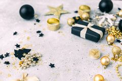Christmas background with gold decorations with copy space stock photos