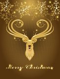 Christmas greeting card with gold deer head Stock Image