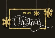 Gold glitter Christmas background. Christmas background with gold glittery snowflakes, border and decorative text Royalty Free Stock Image