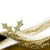 Christmas background with gold holly leaves Royalty Free Stock Photos