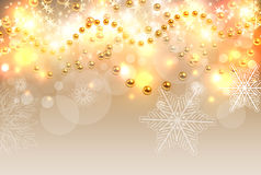 Christmas background gold lights Royalty Free Stock Images