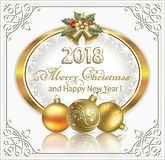 Merry Christmas and Happy New Year 2018 Royalty Free Stock Images