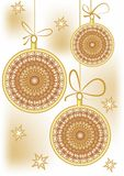 Christmas background with gold patterned christmas balls Stock Photos