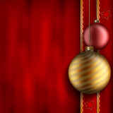 Christmas background - gold and red balls Stock Photo