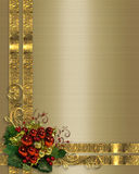 Christmas background gold ribbons. Illustration composition Christmas ribbons and ornaments for elegant traditional greeting card or holiday border on gold satin Royalty Free Stock Photos