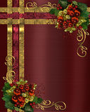 Christmas background gold ribbons. Illustration composition Christmas ribbons and ornaments for elegant traditional greeting card or holiday border on burgundy Stock Images