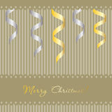 Christmas background with gold and silver ribbons Stock Image