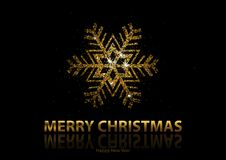 Christmas Background with Gold Snowflake royalty free illustration