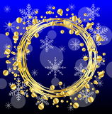 Christmas background with gold spangles and snowflakes Royalty Free Stock Photography