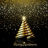 Christmas background with gold star confetti and gold ribbon. Decorative Christmas background with gold star confetti and gold ribbon tree Royalty Free Stock Images