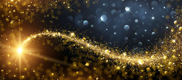 Christmas background with Gold Star. Christmas background with gold magic star with bokeh effects. Vector illustration stock illustration