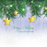 Christmas background with gold star and pine needles Stock Images
