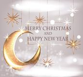 New year eve celebration invChristmas background with gold stars, clouds and moon. Christmas background with gold stars, clouds and moon. Vector illustration Stock Photography