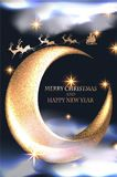 Christmas background with gold stars, clouds, reindeer, Santa and moon. Vector illustration Stock Photos