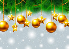Christmas background with gold stars and toys Royalty Free Stock Photo