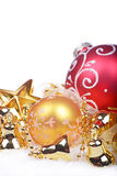 Christmas background with golden balls Stock Image
