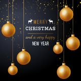 Christmas background with golden balls vector illustration