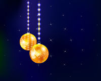 Christmas background. Golden Christmas balls with stars in the sky royalty free illustration