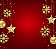 Christmas Background with Golden Balls, Stars and Snowflakes. Illustration Vector Stock Photo