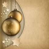Christmas background - golden baubles and stars. And blank space for text Stock Photography