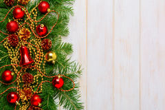 Christmas background with golden beads  decorated wreath Stock Photos