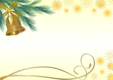 Christmas background with golden bell on a green branch and stars Royalty Free Stock Image