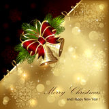 Christmas background with golden bells Stock Photos