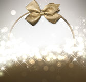 Christmas background with golden bow. Christmas luminous background with golden satin bow. Vector illustration Royalty Free Stock Photos