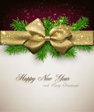 Christmas background with golden bow. Stock Photography