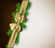 Christmas background with golden bow. Stock Photo