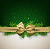 Christmas background with golden bow. Royalty Free Stock Image