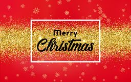 Christmas Background  with golden confetti. Creative Christmas Background with Shining Gold Snowflakes. Vector illustration Royalty Free Stock Image