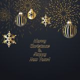 Christmas background with decoration. Christmas background with golden decoration. Holiday christmas dark card with gold snowflakes, balls and firecracker Royalty Free Stock Images