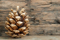 Christmas Background with Golden Fir Cone Stock Photos